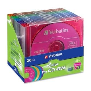 Verbatim CD Rewritable Media - CD-RW - 12x - 700 MB - 20 Pack Slim Ca