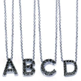 Annello 10k White Gold Black Diamond Accent Mini Initial Letter Necklace