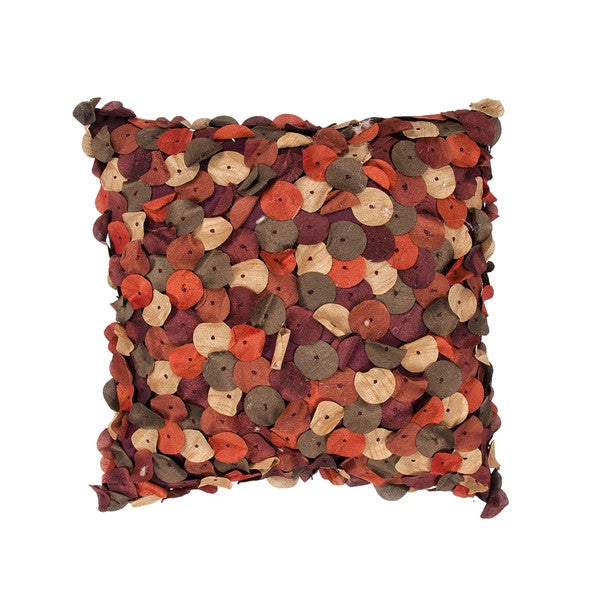 Contemporary Red/ Orange Pieced Circle 18-inch Decorative Pillow