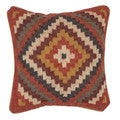 Traditional Wool/ Jute Muliti Color Square 18-inch Pillow