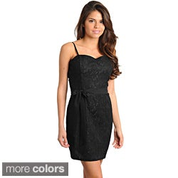 Stanzino Women's Black Lace Overlay Sleeveless Dress