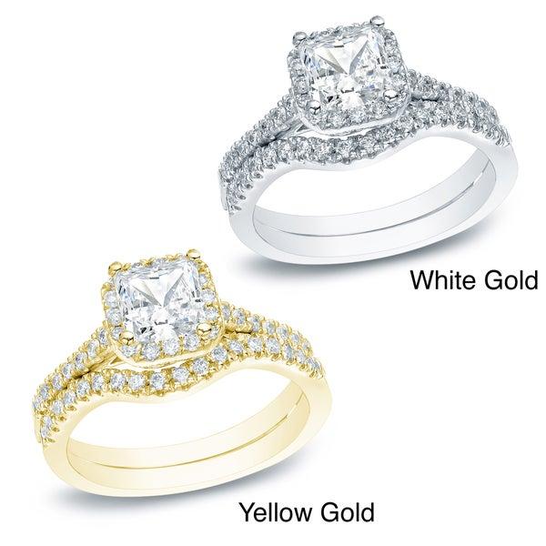 Auriya 14k Gold 1ct TDW Princess Diamond Bridal Set (H-I, SI1-SI2)