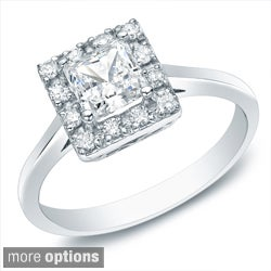 Auriya 14k Gold 1/2ct TDW Princess Diamond Halo Engagement Ring (H-I, SI1-SI2)