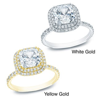 Auriya 14k Gold 1 3/4ct TDW Certified Diamond Double Halo Engagement Ring (H-I, SI1-SI2)
