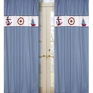 Come Sail Away Blue 84-inch Curtain Panel Pair