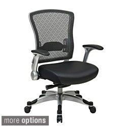 Office Star SpaceGrid Back Chair with Memory Foam Seat and Flip Arms