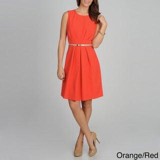 Sharagano Women's Solid Pleated Slim-belt Dress
