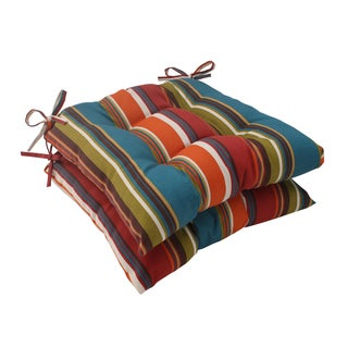 Pillow Perfect Westport Polyester Teal Tufted Outdoor Seat Cushions (Set of 2)