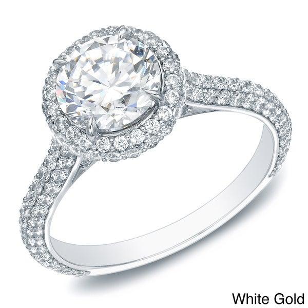Auriya 14k Gold 2ct TDW Certified Diamond Halo Engagement Ring (H-I, SI1-SI2)