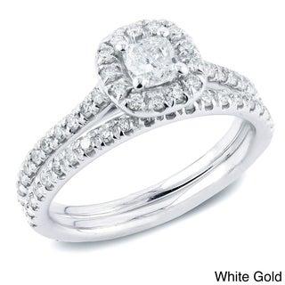 Auriya 14k Gold 1ct TDW Cushion Diamond Halo Bridal Ring Set (H-I, SI1-SI2)