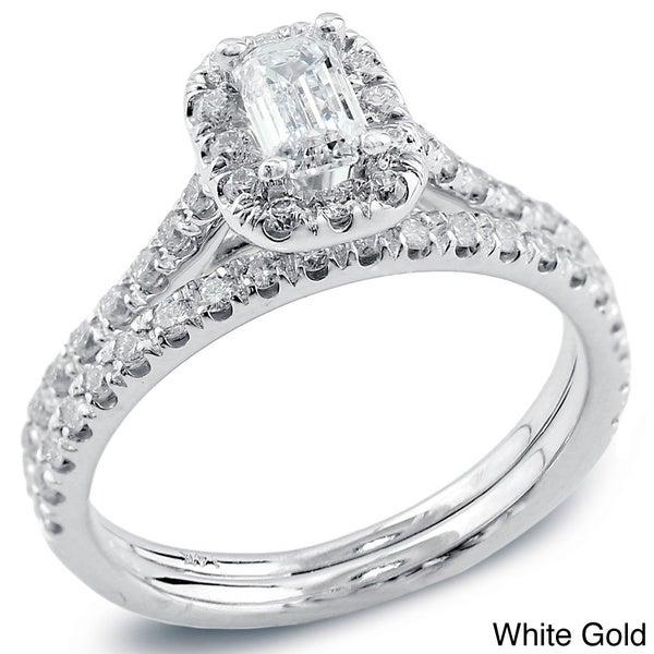 Auriya 14k Gold 1ct TDW Emerald Diamond Halo Bridal Ring Set (H-I, SI1-SI2)