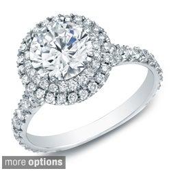 Auriya 14k Gold 2ct TDW Certified Round Diamond Halo Engagement Ring (H-I, SI1-SI2)