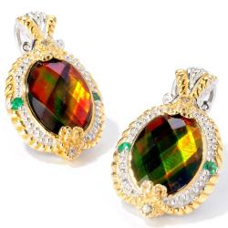 Michael Valitutti Two-tone Ammolite, Emerald and White Sapphire Earrings
