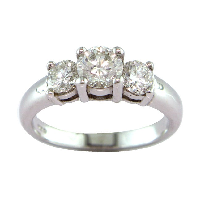 14k White Gold 1 1/4ct TDW Certified Clarity-enhanced 3-stone Diamond Ring (H-I, SI1-SI2)