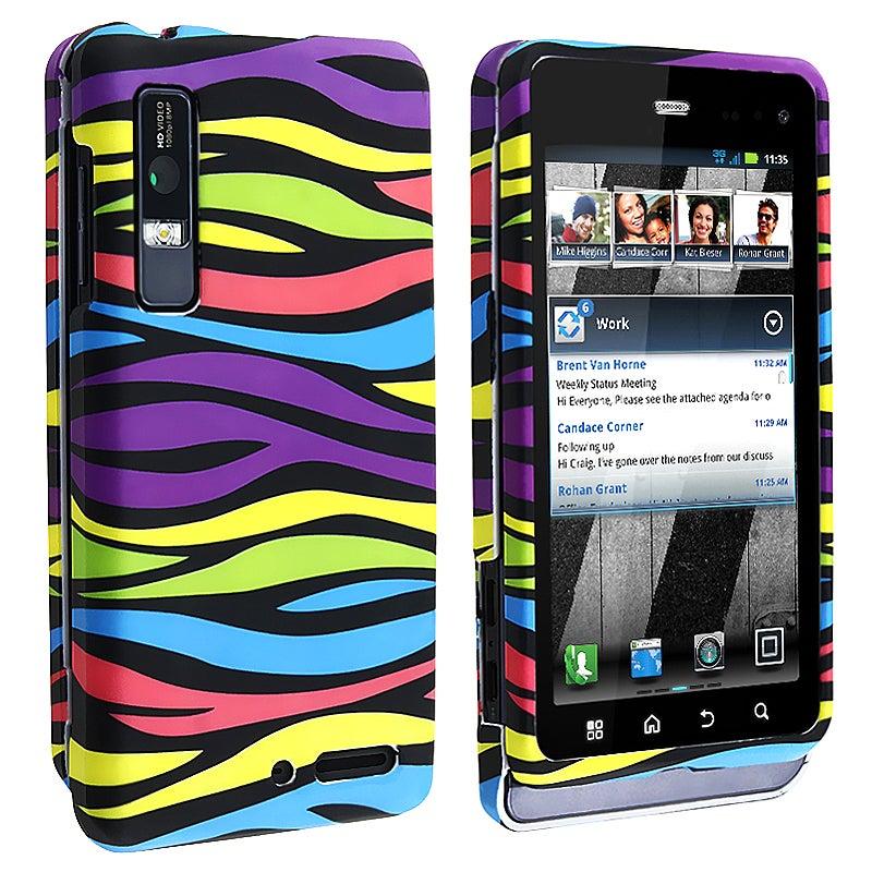 Rainbow Zebra Snap-on Rubber Coated Case for Motorola Droid 3 XT862