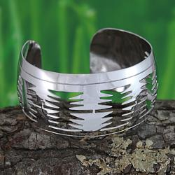 Handcrafted Silverplated Brass Tribal Cuff Bracelet (Mexico)