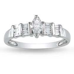 Miadora 14k White Gold 3/8ct TDW Marquise Diamond Ring (G-H, I1-I2)