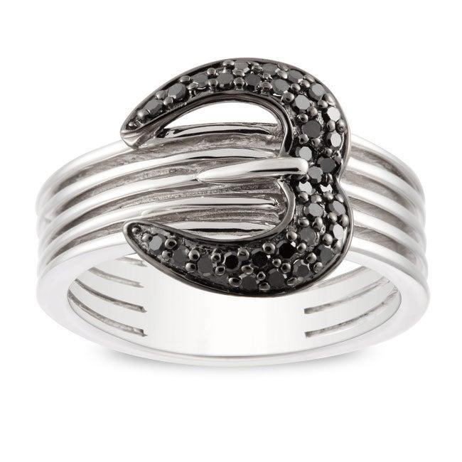 Miadora Sterling Silver 1/5ct TDW Black Diamond Ring
