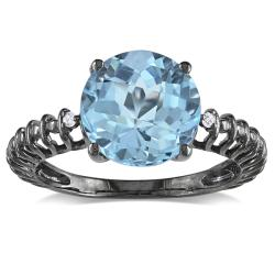 Miadora Silver Blue Topaz and Diamond Accent Ring