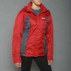 First Down Women's Red Two-tone Hooded Tech Jacket
