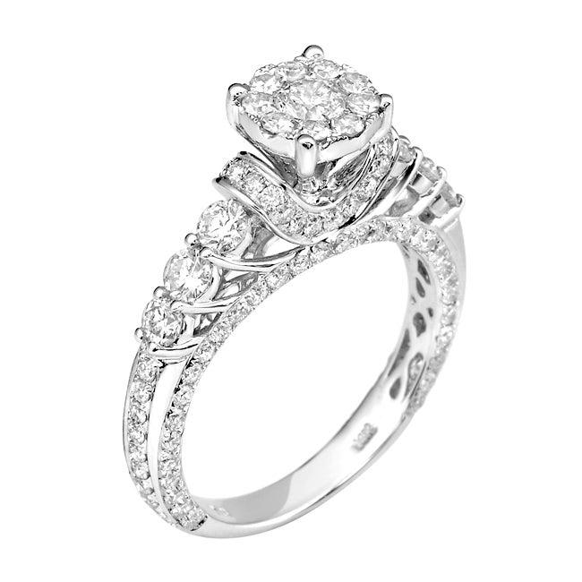14k White Gold 2 1/5ct. TDW White Diamond Ring (G-H, I1-I2)