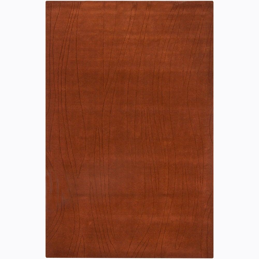 Hand-tufted Mandara Orange Geometric Wool Rug (5' x 7'6)