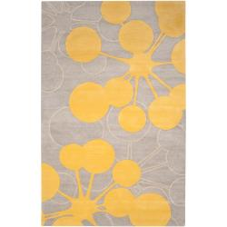 Jef Designs Hand-tufted Grey/Yellow Contemporary Halesowen Wool Abstract Rug (8' x 11')