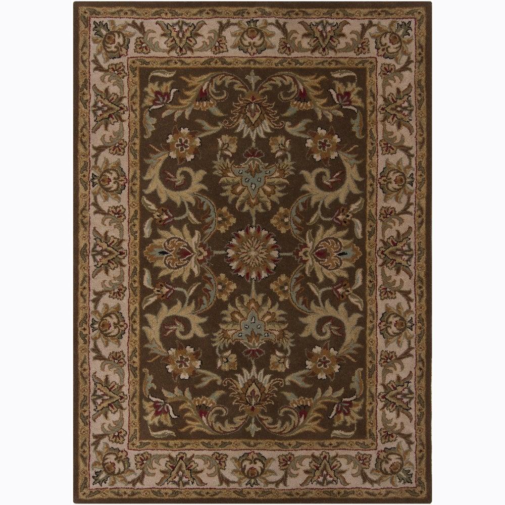 Hand-tufted Mandara Oriental Brown Wool Rug (7' x 10')