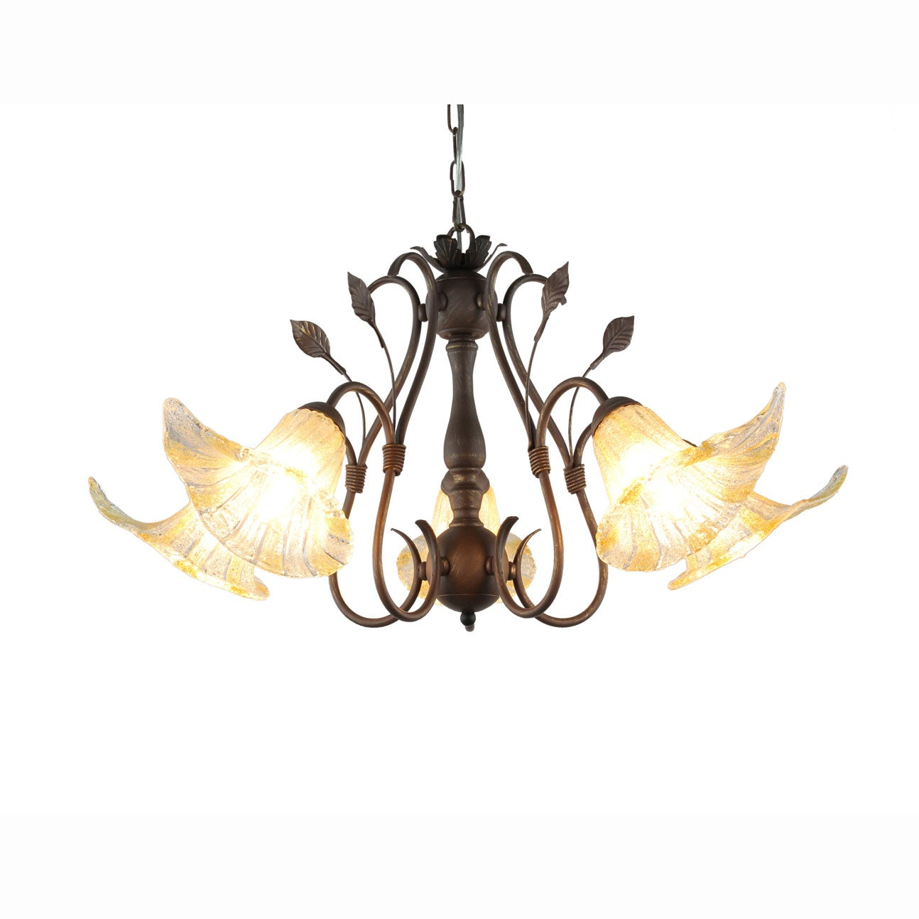 Hand-blown Glass 5-light Brushed Oak Finish Chandelier