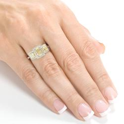 14k Gold 1 5/8 ct TDW Certified Yellow and White Diamond Ring (H-I, SI2-I1)