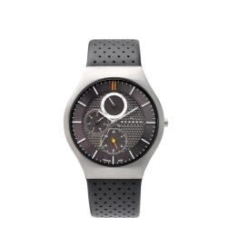 Skagen Men's Grey Multifunction Leather Watch
