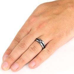 Men's Titanium Black Steel Cable Inset 6.7mm Ring