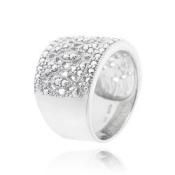 DB Designs Sterling Silver Diamond Accent Lace Filigree Design Ring