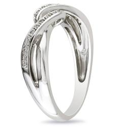 Miadora Sterling Silver 0.06 CT TDW Round White Diamond  Ring