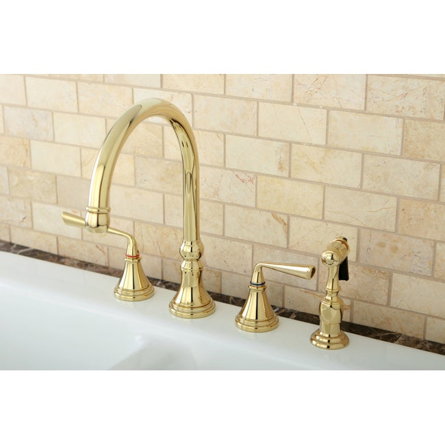 polished brass 4 hole kitchen faucet and brass sprayer overstock shopping great deals on. Black Bedroom Furniture Sets. Home Design Ideas