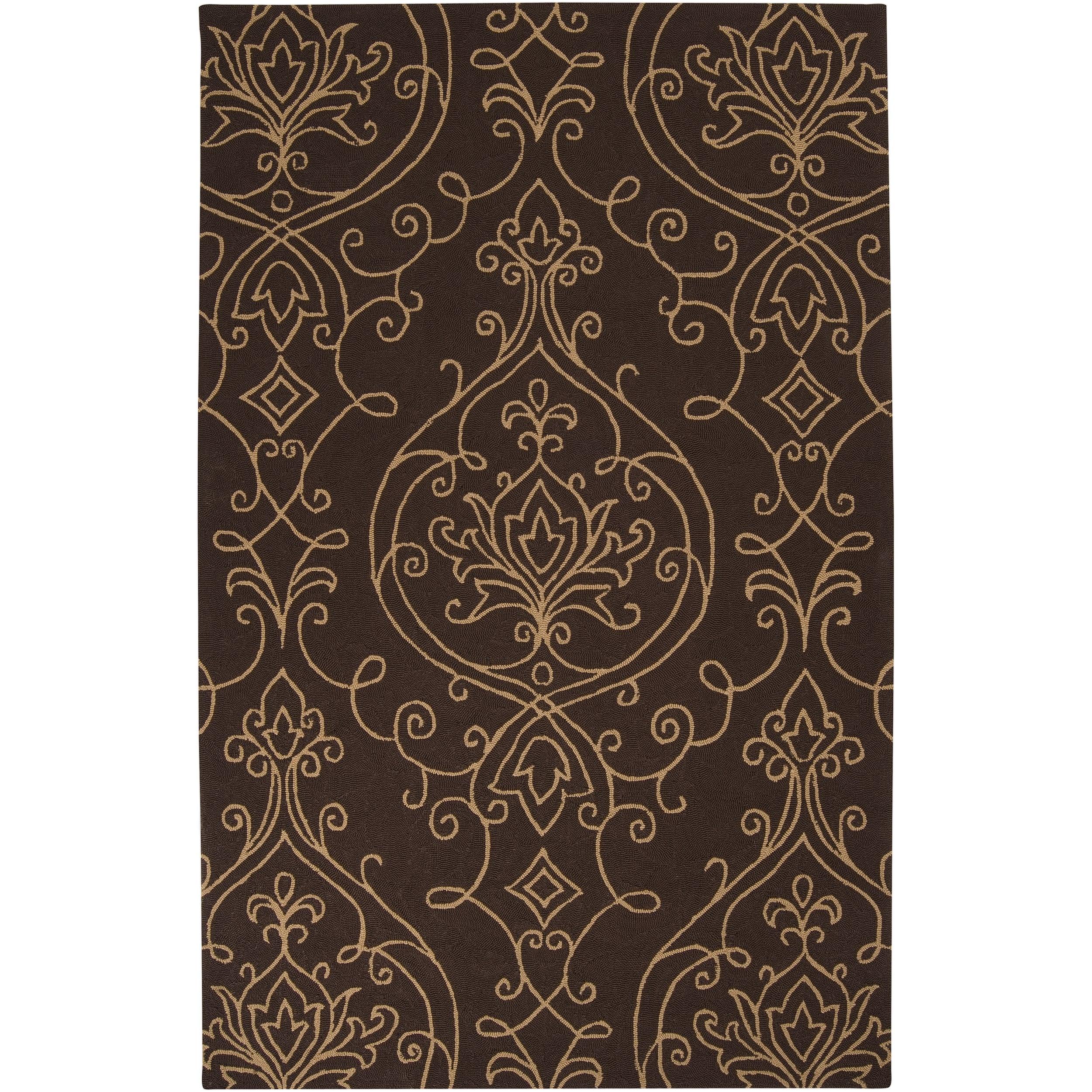 Hand-hooked Haxby Indoor/Outdoor Damask Print Rug (9' x 12')