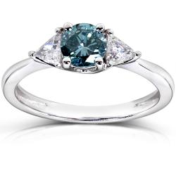 14k White Gold 7/8ct TDW Blue and White Diamond Ring (G-H, I1-I2)