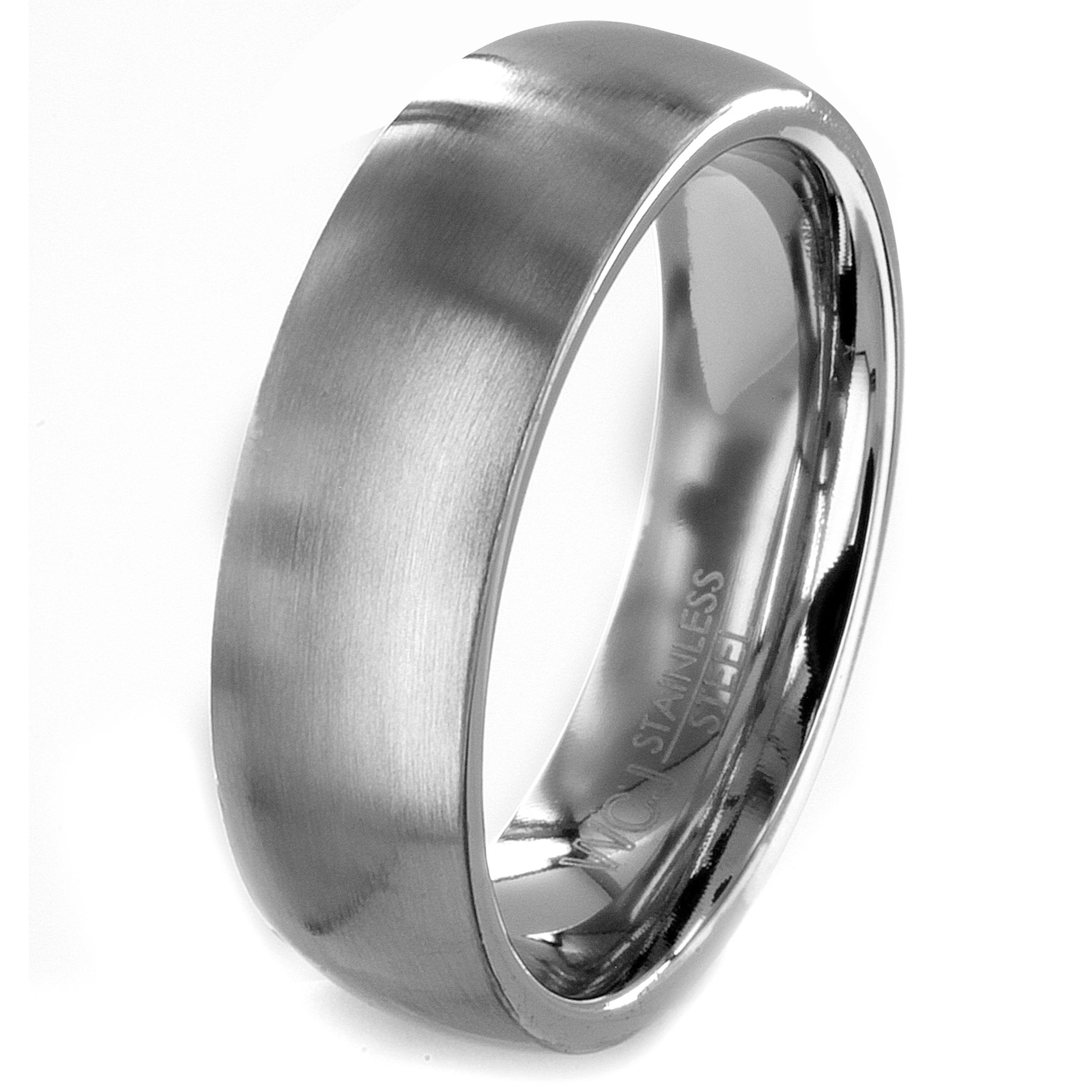 Stainless Steel Brushed Men's Wedding Band