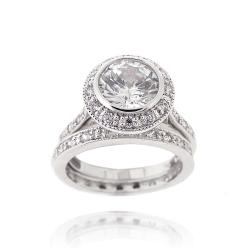 Icz Stonez Sterling Silver Cubic Zirconia 3 1/5ct TGW Bridal Ring Set