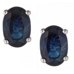 Anika and August 14k White Gold Ceylon Blue Sapphire Stud Earrings