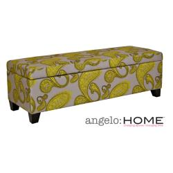 angelo:HOME Kent Modern Lemongrass Paisley Wall Hugger Trunk Storage Ottoman
