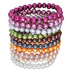 Multi-colored FW Potato Pearl 10-piece Elastic Bracelet Set (5-6 mm)