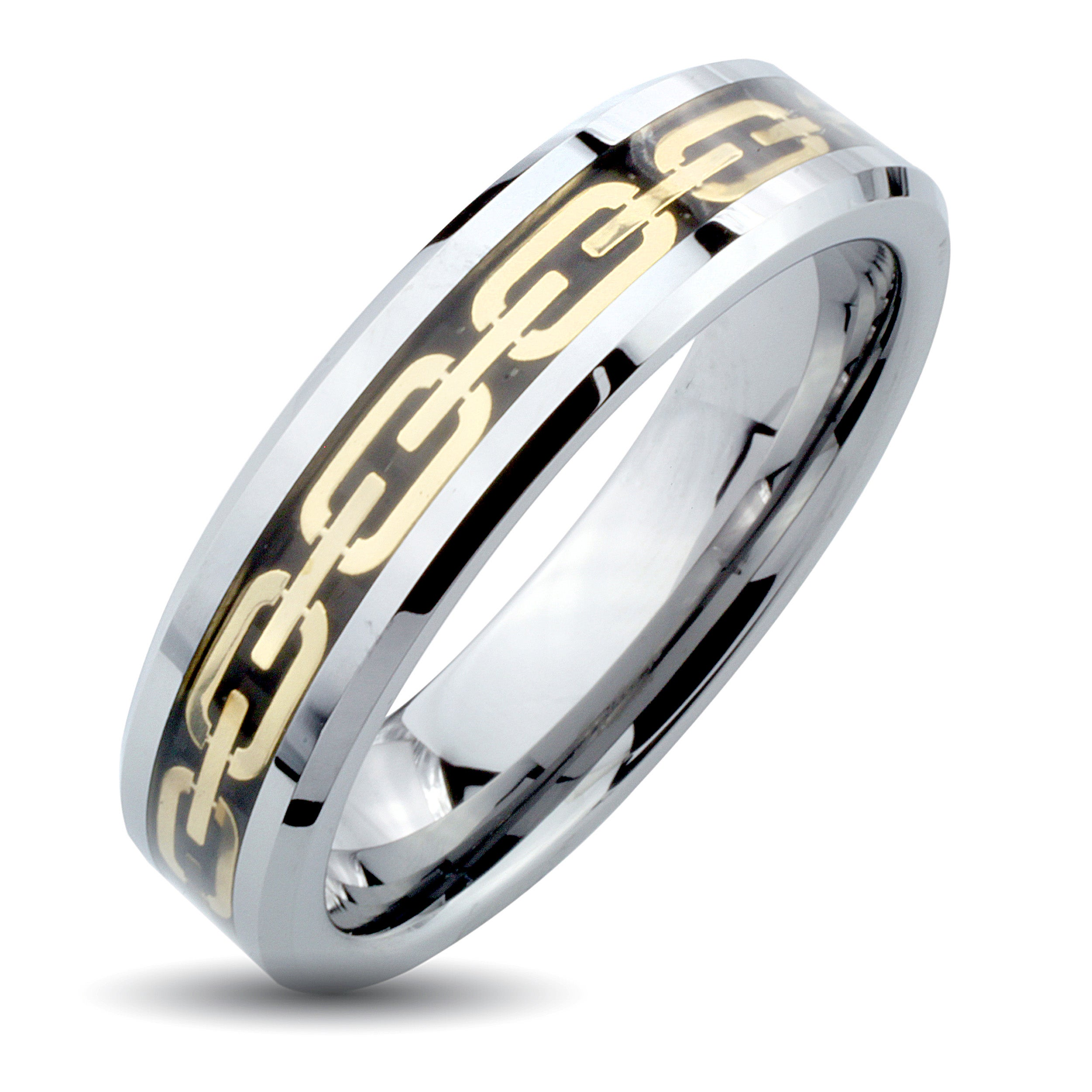 Eziba Collection Men's Tungsten Carbide Gold Chain Link Inlay Ring (6 mm) at Sears.com