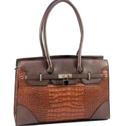 Dasein Faux Leather Croco Embossed Satchel