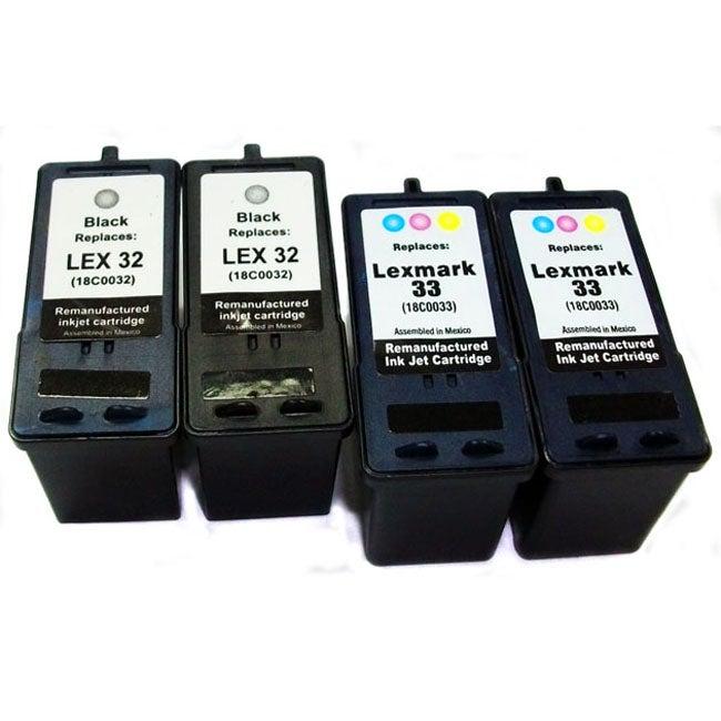Lexmark 32/33 Black/ Tri-color Ink Cartridge (Remanufactured) (Pack of 4)