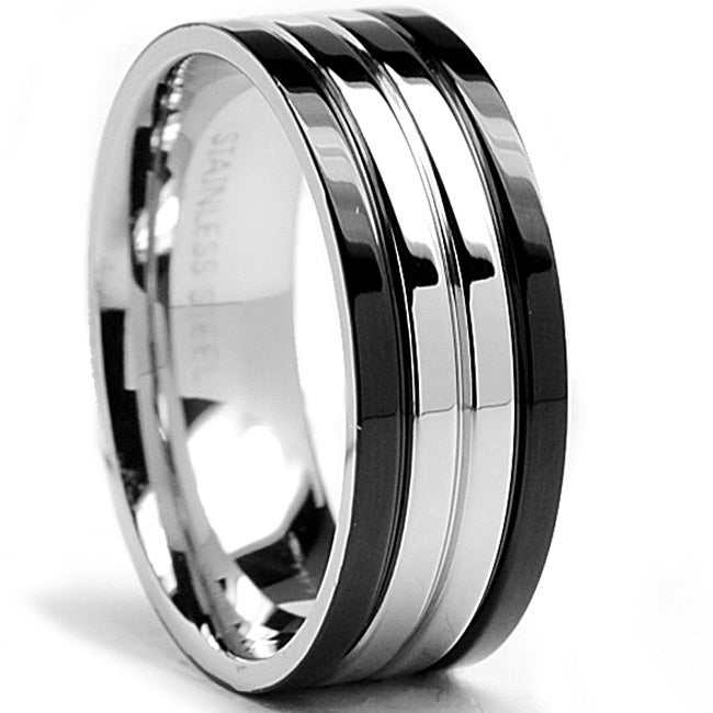 Oliveti Stainless Steel Men's Two-tone Wedding Band Ring (8 mm)
