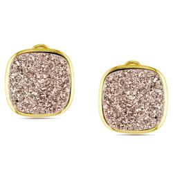 Sterling Silver Rose Druzy Gemstone Stud Earrings