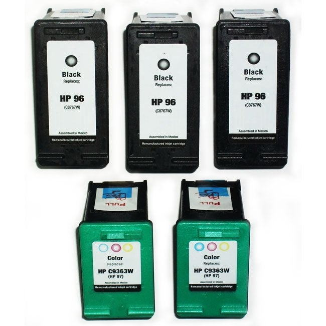 HP 96/97 Black/Tri-Color Ink Cartridges (Remanufactured) (Pack of 5)