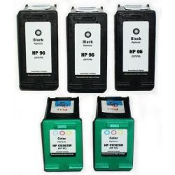 HP 96/97 Black/Tri-Color Ink Cartridges (Remanufactured) (Pack of 5)