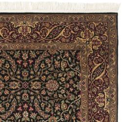 Chinese Hand-knotted Royal Kerman Black/ Red Wool Rug (3' x 5')